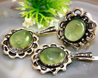 Prehnite Ring Earrings Set Prehnite Sterling Silver Jewelry