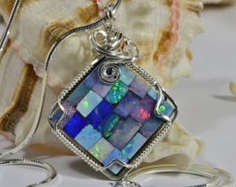 Australian Opal Necklace Wire Wrapped Pendant Australian Opal Jewelry