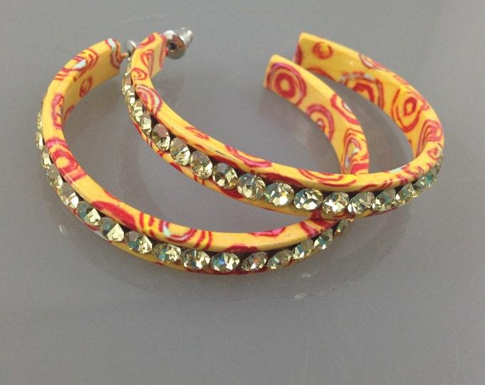 RETRO Vintage Yellow Rhinestone Earrings,Vintage Red and Yellow Earrings. Decorated hoop earrings, red swirls, pierced earrings.
