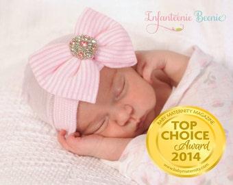 NEWBORN HAT with BOW, newborn girl hospital hat, newborn girl hat, newborn girl, hospital hat with bow