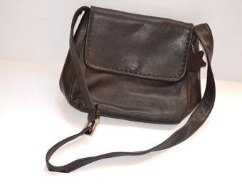 Vintage dark brown leather shoulder crossbody bag by Valery Stevens  Organizer handbag   Perfect condition  Gift