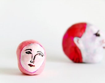 polymer clay sculpture, air dry figurine, head of a woman, tiny art object, small bust, acrylic painted face, pink, art collectible, figure