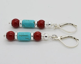 Turquoise And Red Coral Sterling Silver Lever Back Earrings 08