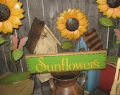 "Primitive wood Med sign  hand painted Garden "" SUNDFOWERS "" Rustic country gardening folkart wall Housewares Decor"