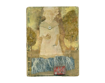 TEACHER, mixed media original, primitive fabric, collage, paint and fabric folk art portrait, by Elizabeth Rosen