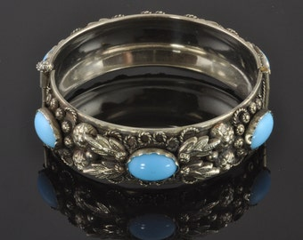 Vintage Bangle Bracelet with Ornate Design - Silver-tone Metal and Blue Stones - Hand Made in Italy C1960s - Boho Style Statement Jewelry