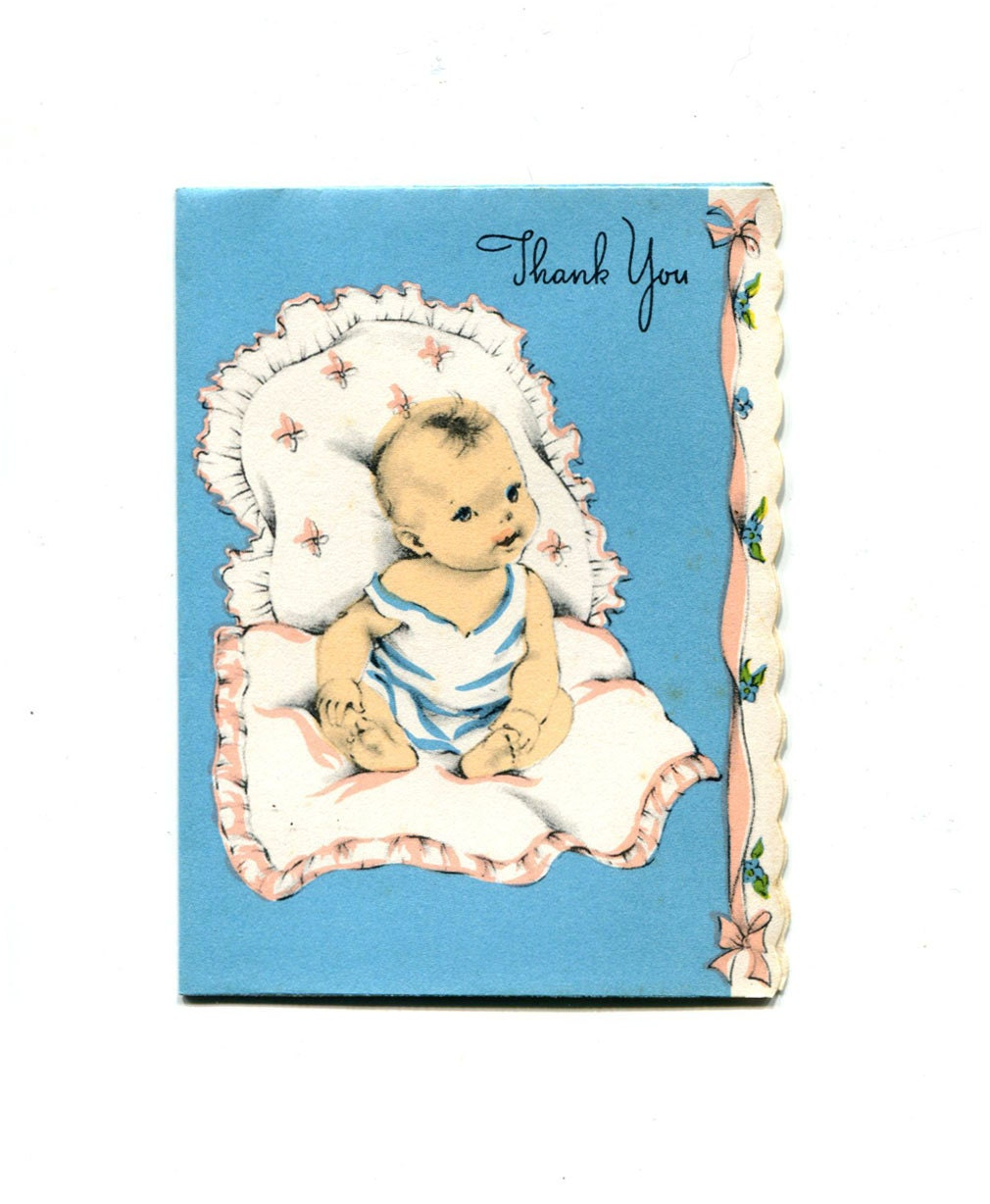 Vintage Baby Shower Thank You Cards: 10 Unused Vintage Baby Shower Thank You Card 1950s With