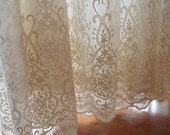 cream lace fabric, embroidered tulle lace fabric, scalloped trim lace fabric