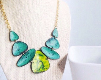Turquoise Bib Necklace Abstract Geometric Turquoise and Lime Rustic Wedding Summer