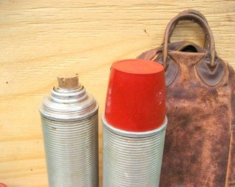 Vintage thermos camping supplies