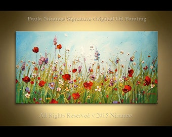 Original Floral Wall Painting on Canvas Oil and Acrylic Prairie Blooms good mood summer feel ready to hang