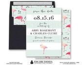 Flamingo SAVE THE DATE Card Invitation Pink Flamingos Aqua Blue Mint Stripes Tropical Wedding Free Priority Shipping or DiY Printable- Abby
