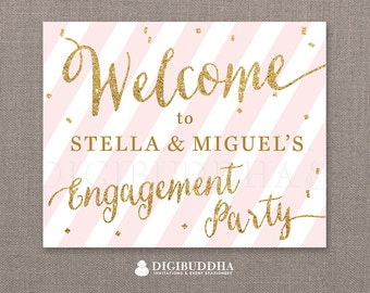 Engagement Party WELCOME SIGN Pink Stripe Gold Glitter She Said Yes! Wedding Bachelorette Party Sign Blush Confetti Sprinkle Dots - Stella