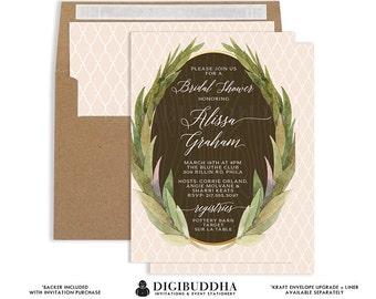 RUSTIC BRIDAL SHOWER Invitation Elegant Peach Blush Wedding Printed or Printable Invitation Floral Wreath Sprig Free Shipping or DiY- Alissa