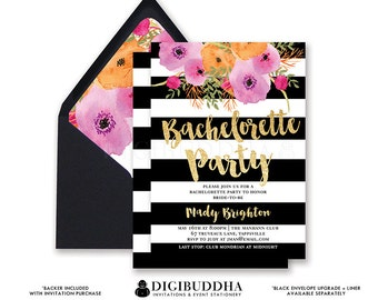 BACHELORETTE PARTY INVITATION Black White Stripe Bridal Shower Invites Gold Glitter Flower Wedding Hens Free Shipping or DiY Printable- Mady
