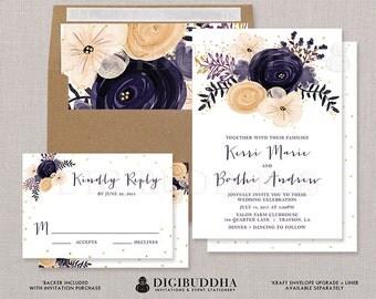 WEDDING INVITATION SUITE 2 Pc Wedding Invites RSvP Plum Purple Flowers Gold  Glitter Printed Or DiY