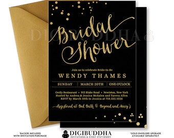 BLACK & GOLD BRIDAL Shower Invitation Printable Gold Glitter Invite Modern Confetti Calligraphy Wedding Free Priority Shipping or DiY- Wendy