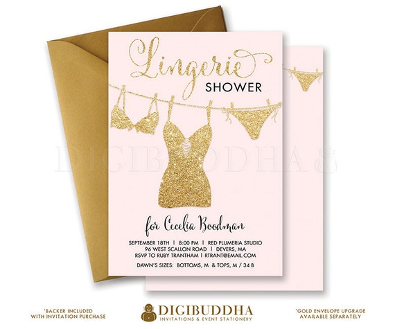 PINK GOLD LINGERIE Shower Invitation Blush Pink Gold Glitter