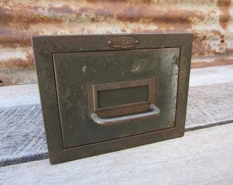 Old Fashioned Metal Card Catalog Industrial Shop Cabinet Antique Organizer 1940s Era Industrial Storage Bin vtg COLE Steel Made in USA