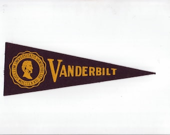 Vintage College Pennant Vanderbilt University vtg SMALL MINI Felt School Pennant Flag 1940s-1960s Dorm Collectible Sports Decor Man Cave