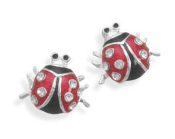 Girl's Child Lady Bug Swarovski Crystal Handpainted Epoxy Stud Post Earrings - 925 Sterling Silver