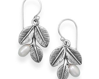 Oxidized Leaf Dangle Earrings with Cultured Freshwater Pearls - 925 Sterling Silver