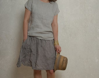 LINEN SKIRT with side pockets