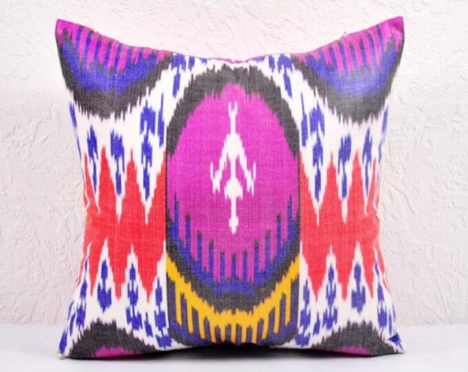 Ikat Pillow, Hand Woven Ikat Pillow Cover  spi518, Ikat throw pillows, Designer pillows, Decorative pillows, Accent pillows