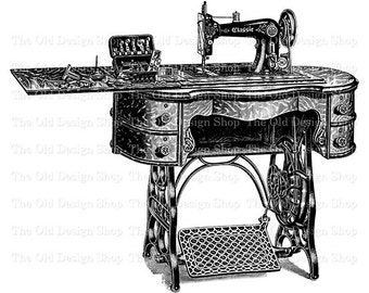 Vintage Sewing Machine Classic No. 2 Printable Clip Art Digital Download Transfer Image