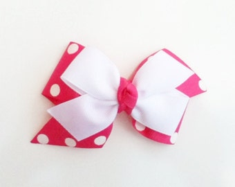 Hot pink  and Lime hair bow, girls hairbow