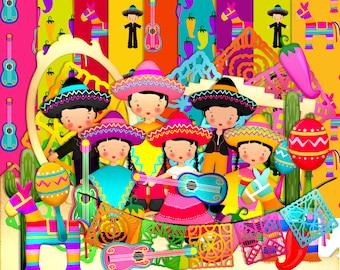Mexican Scrapbook, Fiesta scrapbook, Instant download, Digital scrapbook, Journal Clipart,