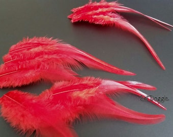 Holiday DIY Hair Accessories, Bright Red Feathers, Craft Feathers, Rooster Feathers