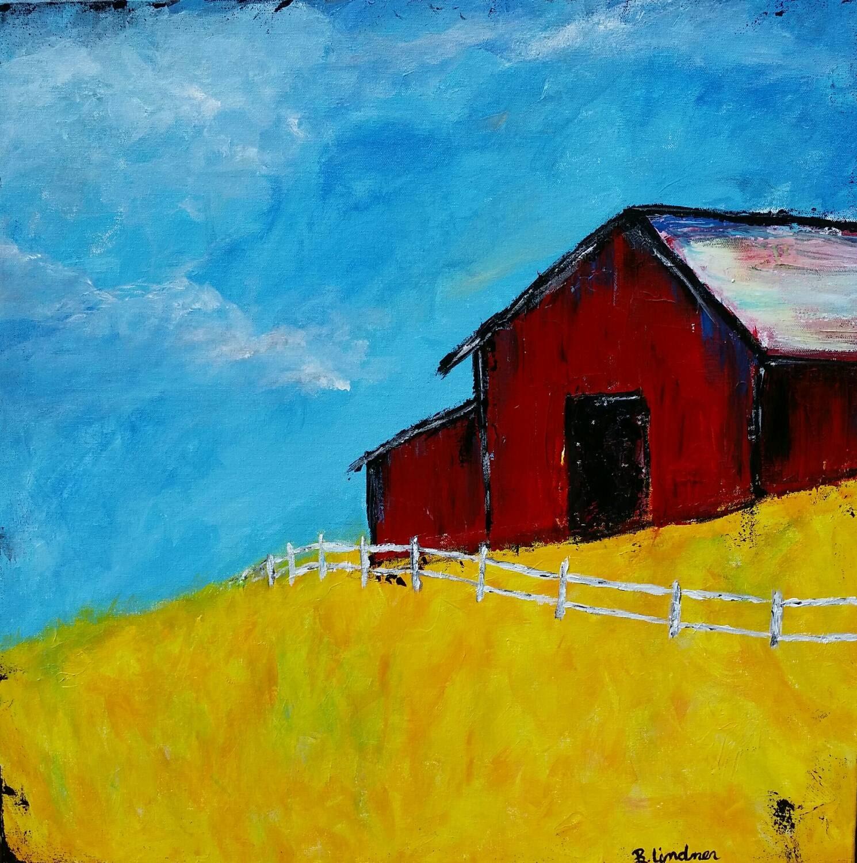 24 X 24 Original Acrylic Painting Lonely Barn
