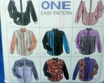 McCall's 7416 Western Shirt Pattern, Mens Med 38, 40,