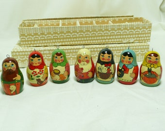 Vintage Russian Hand Painted Matreshka Doll Christmas Ornaments, set F