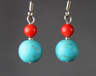 5.99-9.99 dollars Turquoise coral simple drop Earrings Bridesmaids gifts Free US Shipping handmade Anni Designs