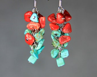 Turquoise coral chunky chandelier dangle earrings Bridesmaids gifts Free US Shipping handmade Anni Designs