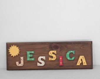 Wooden JESSICA Sign Rustic Kitsch 1980s Monogram Country Room Decor