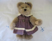 """Teddy Bear Girl in Plum Color Dress Boyd's Bear Archive Series 8"""" Tall Fully Jointed, Faux Fur Plush Old Fashion Style Sweet and Loving"""