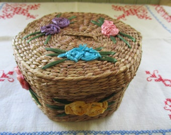 Vintage Basket Woven Grass with Lid Hand Decorate with Flowers and Leaves Pink, Turquoise, Purple, Yellow Colorful Flowers Roses