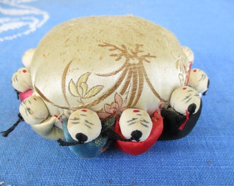 Vintage Pincushion Satin Chinese 12 Hugging Children, Babies, Kids, Oriental, Traditional Old Hand Painted Faces
