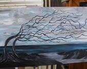 beach driftwood painting, 24x48 acrylic, fantasy art, fun art, beachy, deadwood, coast painting