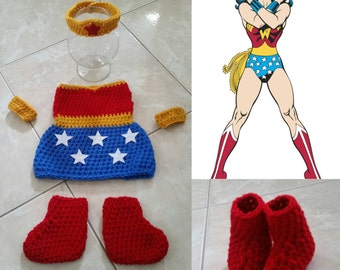 Crochet Wonder Woman Outfit (Crown, dress, cuffs and boots)