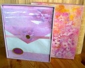 """Vintage 80's  """"HALLMARK SCENTED""""  Boxed Stationery Water Color Floral Design"""