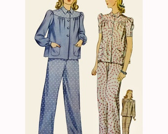 1940s Style Pajamas Lounge Blouse and Pants Custom Made in Your Size From a Vintage Pattern