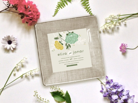 ... gift for couple - unique wedding gift - wedding invitation plate - 1st