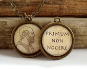 Hippocrates Necklace - Hippocratic Oath - DOUBLE SIDED Philosophy Necklace W/ Chain in Brass or Silver