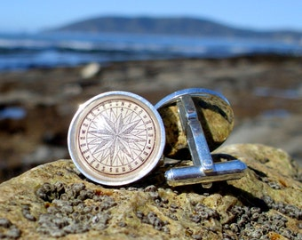 Compass Cufflinks / Cuff Links in Stainless Steel - Nautical Cufflinks