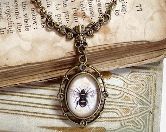 Little Honey Bee Necklace - Bumble Bee - Queen Bee Pendant in Bronze