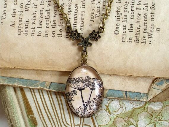 Poison Hemlock Necklace - Antique Botanical Print Pendant in Bronze